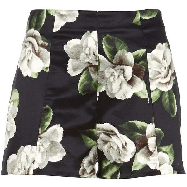 River Island Black floral high waisted shorts - Polyvore