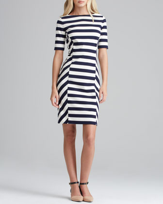 Tory Burch Augusta Fitted Striped Dress - Neiman Marcus
