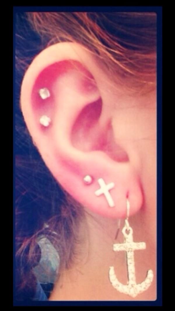 jewels stud earrings cartilage cross earring anchor earrings diamonds studs jewelry anchor cross