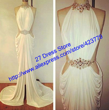 Aliexpress.com : Buy Sexy Side Slit A line Halter White Chiffon Wedding Dress Floor Length Long Beach Wedding Dresses 2013 New Arrival from Reliable chiffon wedding dress suppliers on 27 Dress