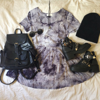 blue dress midi dress mini dress black backpack black bag black beanie beanie black boots ankle boots round sunglasses summer outfits dress tie dye purple grunge black dress summer spring cute
