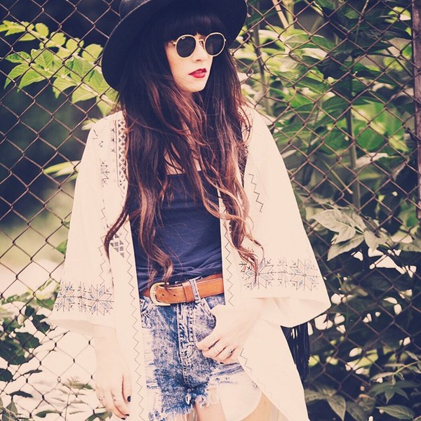 cardigan boho lace shorts crop tops sunglasses