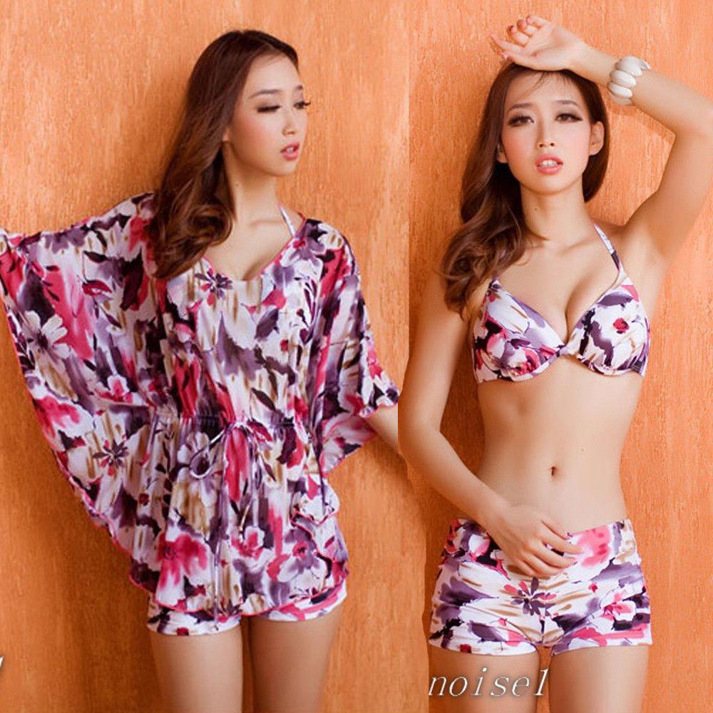 3 Pcs Floral Push Up Bikini Set Batwing Top Cover Up Swimsuit Bathing Suit SW482   eBay