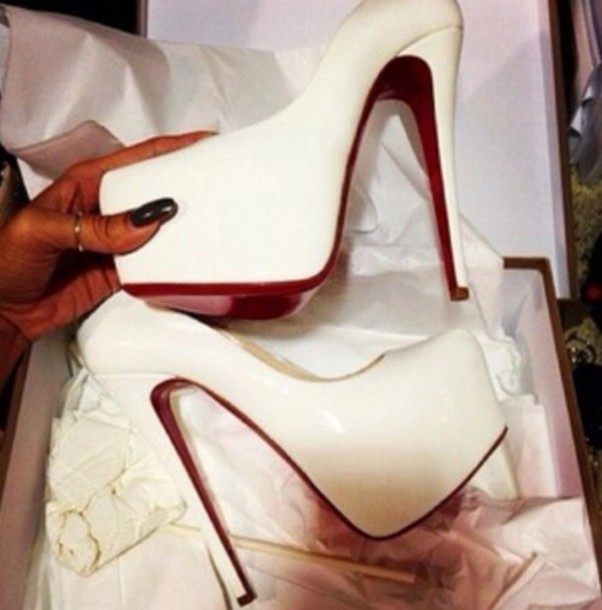 shoes red bottoms red dress white heels pumps
