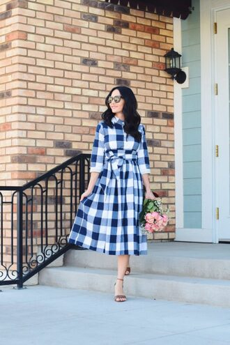 outfits&outings blogger dress sunglasses shoes midi dress plaid dress sandals high heel sandals
