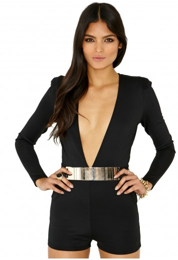 Bluu Belted Playsuit In Black - Jumpsuits & Playsuits - Clothing - Missguided