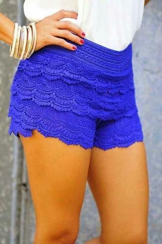 shorts blue shorts style fashion blue crochet shorts laced