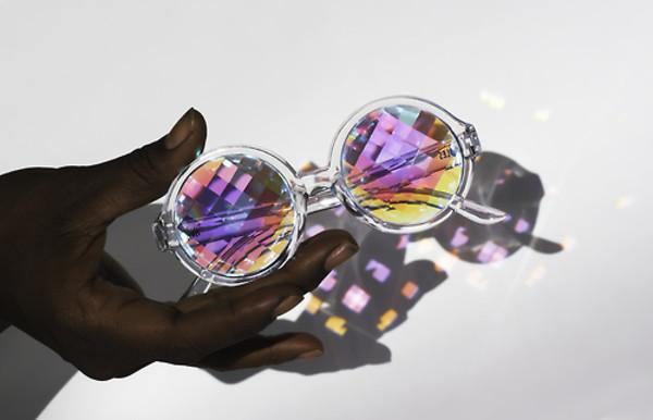 sunglasses psychedelic kaleidoscope transparent glasses tumblr circle shades purple glasses purple holographic