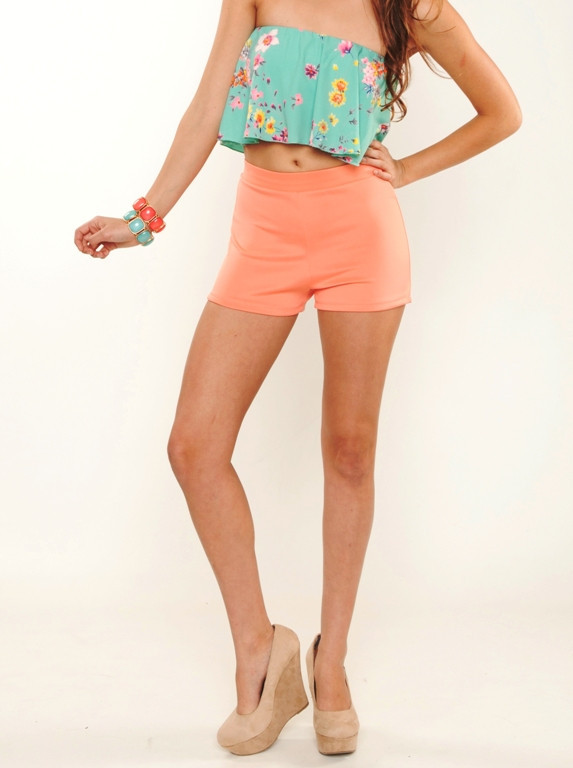 Coral Pin Up Shorts   Affordable Junior Clothing & Plus Sized Dresses   Shimmer