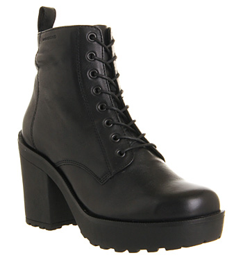 Vagabond Libby Heeled Lace Up Black Leather - Ankle Boots
