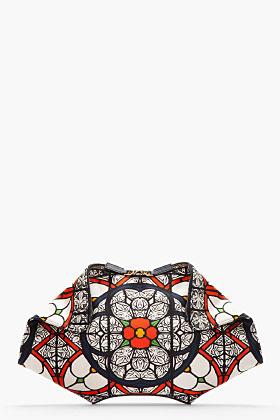 Alexander McQueen Navy Satin Stained Glass Print De Manta Clutch for women | SSENSE