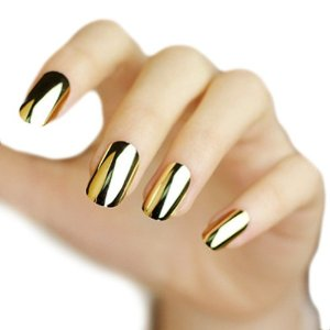 Amazon.com : 12pcs Metal Plating Color Rock Punk Style Acrylic Style Artificial Full False Nails Nail DIY Art Tips(nail glue excluded) (Gold) : Decorations Nails : Beauty