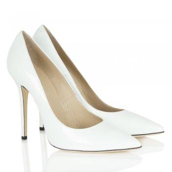 Daniel Mustio White Patent Court Shoe