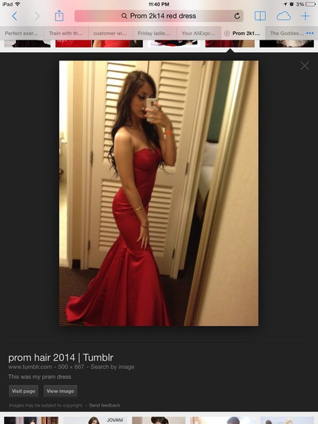 dress red dress mermaid prom dress
