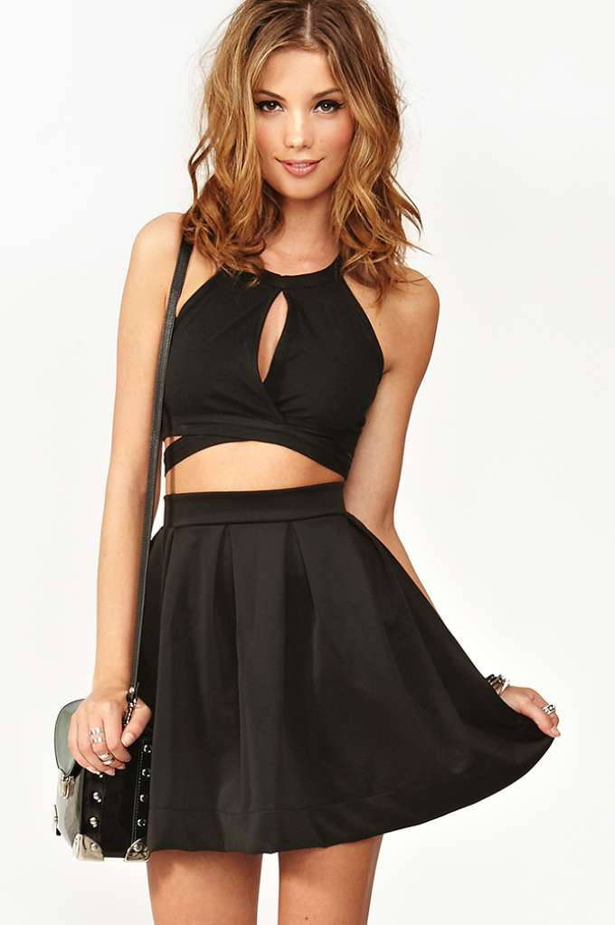 Scuba Skater Skirt - Black  in  Clothes at Nasty Gal