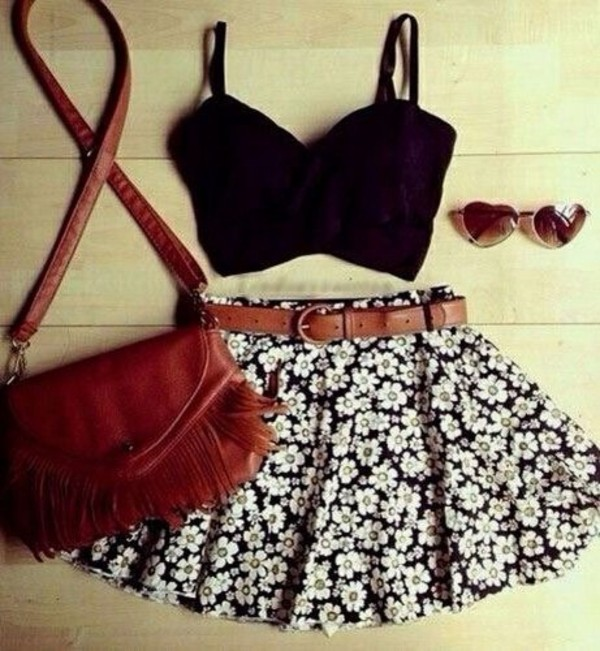 skirt skater skirt flowers sunglasses shirt black black crop top bag crossbody bag belt