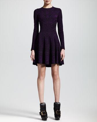 Alexander McQueen Lace Jacquard Long-Sleeve Circle Dress - Neiman Marcus