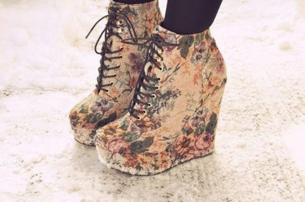 shoes high heels floral flowers wedges baige fawn platform shoes