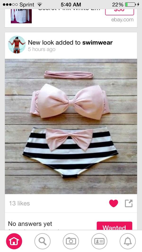 swimwear bow pink black white
