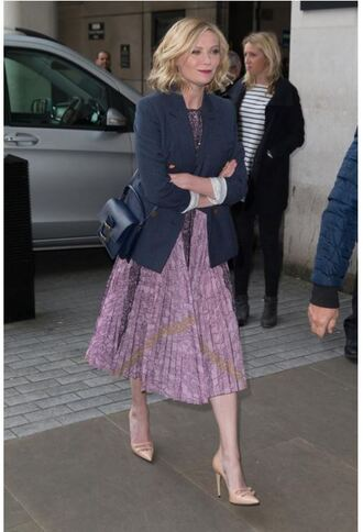 dress midi dress spring outfits spring dress kirsten dunst pumps blazer jacket shoes
