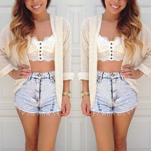 t-shirt long cardigan shorts sweater blouse crop tops lace