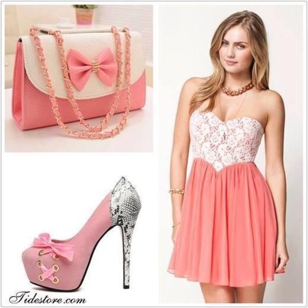 dress bag peach coral