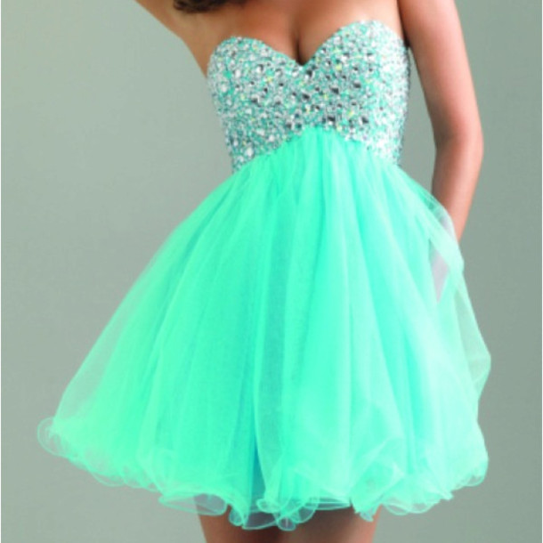 cocktail cocktail dress homecoming dress bling crystal crystal quinceanera dress turquoise prom dress prom gown