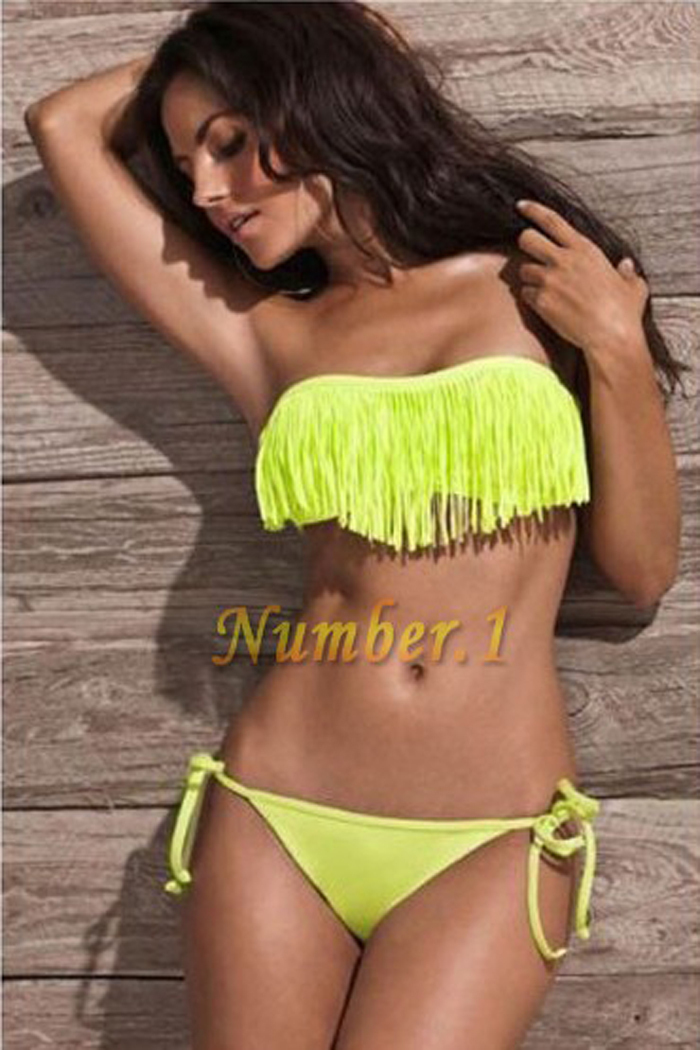 2014 VS sexy usa secret neon Pad No push up swimsuit the bathing suit discount monokinis bandage bikini swimwear swimming Tassel-in Bikinis Set from Apparel & Accessories on Aliexpress.com