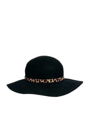 Whistles   Whistles Floppy Brim Leopard Trim Wool Felt Hat at ASOS