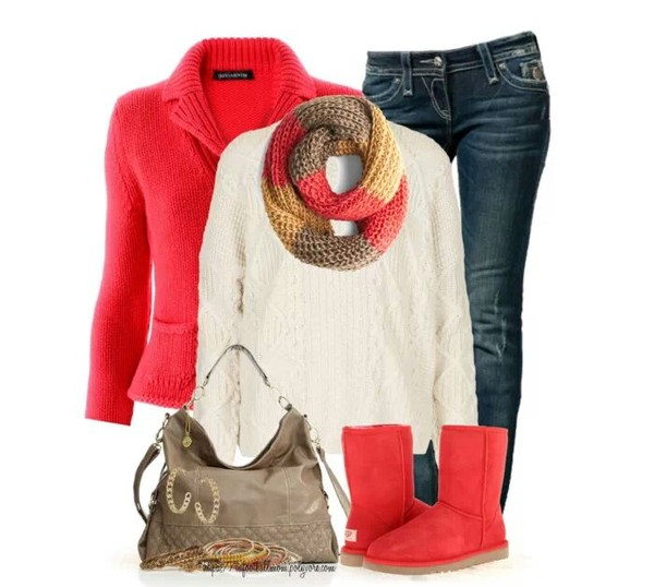 coat jeans sweater shoes