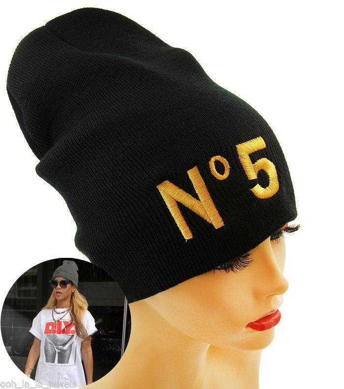 "Urban Glam Black Beanie with Gold ""No 5"" Word Design Fashion Hat | eBay"