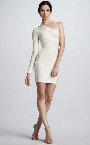 Herve Leger Long Sleeve One Shoulder Bandage Dress white /Herve Leger Dresses,Herve Leger Outlet - USD $187