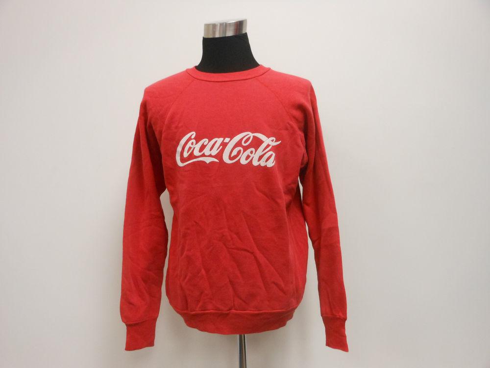 Vtg 80s 90s Coca Cola Crewneck Sweatshirt Sz L Large Red Bottle Xmas Bear | eBay