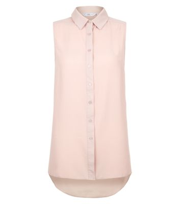 Shell Pink Dip Hem Sleeveless Shirt