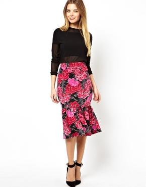 ASOS   ASOS Pencil Skirt in Floral Print with Peplum Hem at ASOS