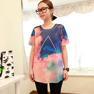 2013 Harajuk galaxy T shirts long design triangle galaxy tops loose short sleeve couples shirts and lovers FreeShipping-inT-Shirts from Apparel & Accessories on Aliexpress.com