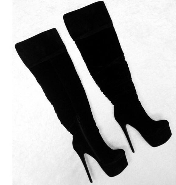 shoes black shoes boots black boots high heeled boots high heels black heels heels thigh high boots over the knee boots