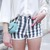 Vertical Stripes Edged Denim Shorts | Choies