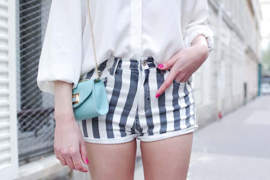 Vertical Stripes Edged Denim Shorts   Choies