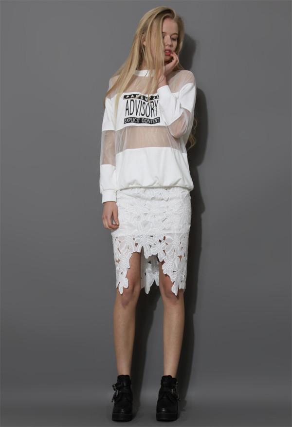 sweater white print sweat top mesh