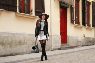 pivonia blogger shoes bag dress jacket hat belt thigh high boots boots black leather jacket felt hat
