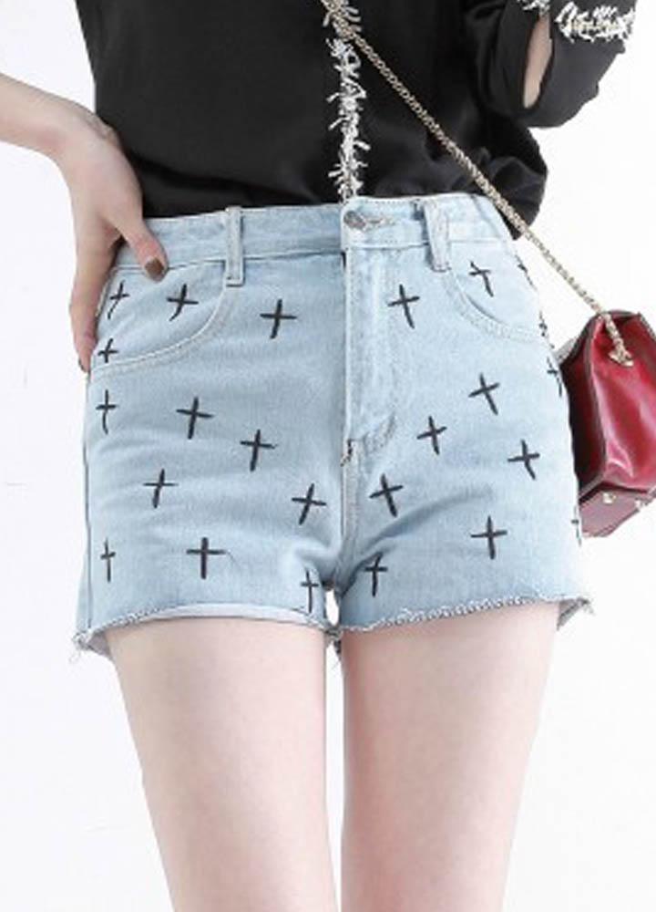 Light Blue Black Cross Class Style Denim Short  cute denim shorts