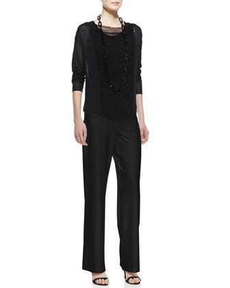 Eileen Fisher Paneled Mesh Long-Sleeve Top, Stretch Silk Jersey Tank  & Modern Wide-Leg Pants, Petite