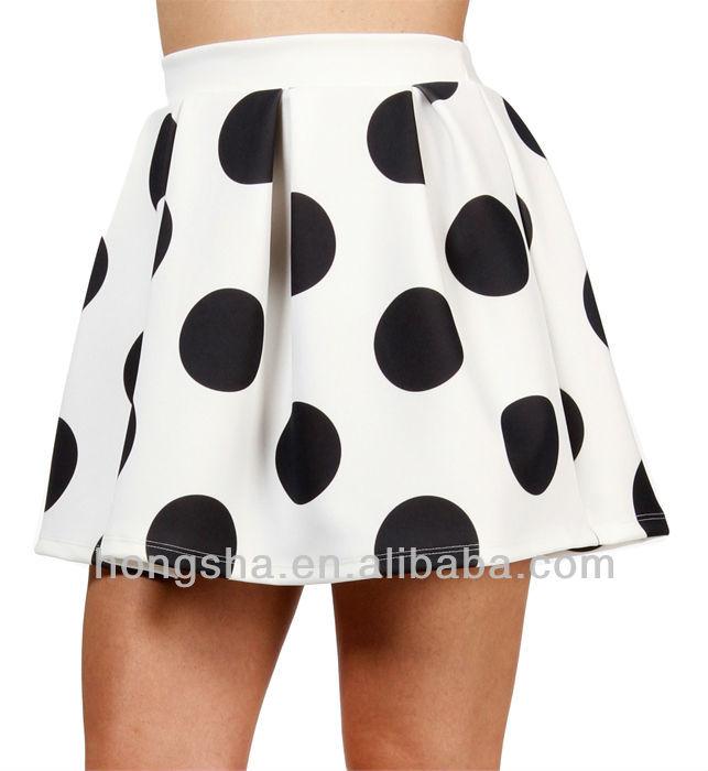 White/Black Polka Dot Skater Skirt HSM556, View Summer Polka Dot r Skirt , HONGSHA Product Details from Dongguan City Humen Hongsha Garment Factory on Alibaba.com