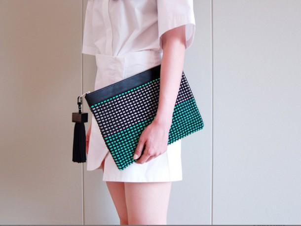bag clutch weaving handmade craft leather aclyyarn