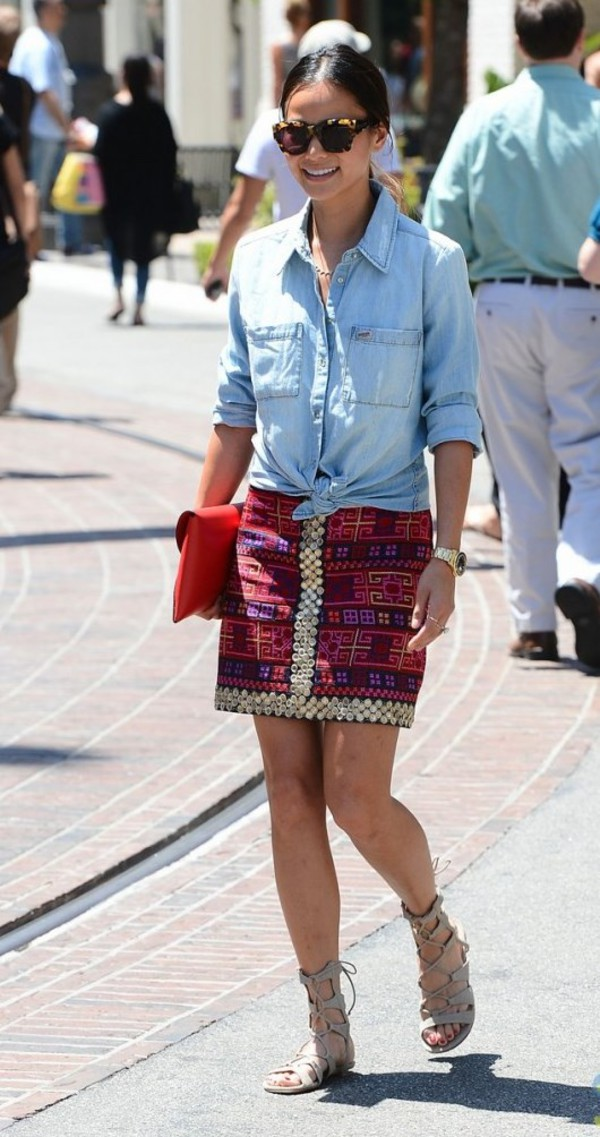blouse jamie chung shoes bag skirt jewels