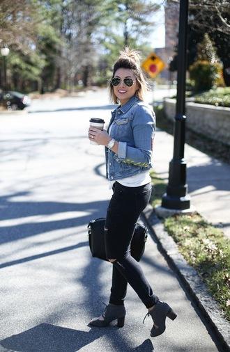 life & messy hair blogger jacket jeans shoes bag sunglasses t-shirt denim jacket ankle boots handbag givenchy bag