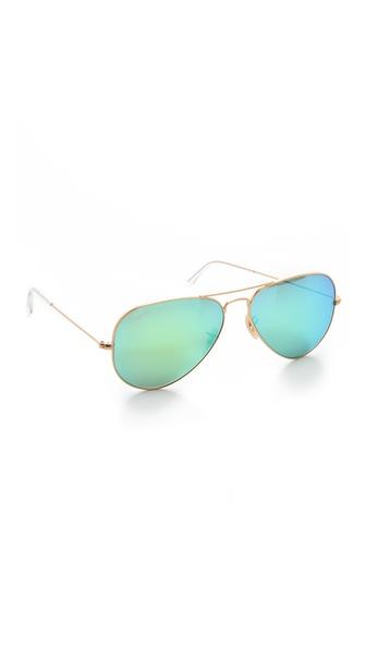 Ray-Ban Mirrorred Matte Classic Aviator Sunglasses | SHOPBOP