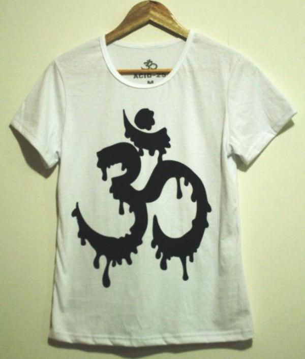 shirt symbol aum hindu om white black black and white hippie