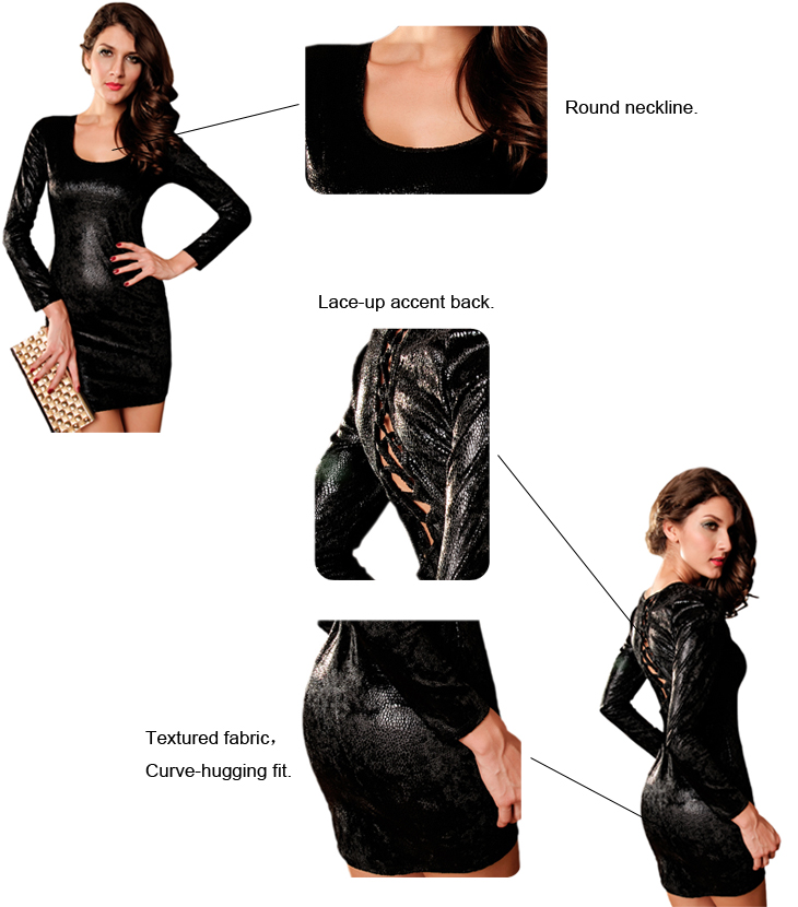 Dear-Lover Wholesale Black Textured Lace-Up Back Dress